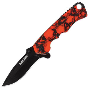 Black Legion Skull Mayhem Knife Orange
