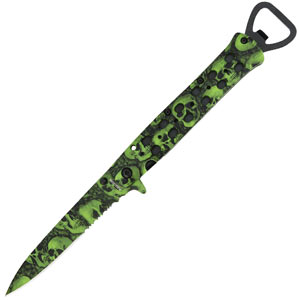 Black Legion Skull Assisted Open Stiletto Green