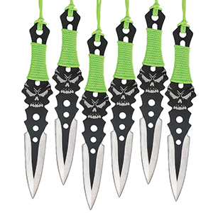 Black Legion Wicked Skull Throwing Knives 6-Pack