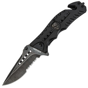 Black Legion Skull Rescue Folding Pocket Knife Bla