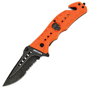 Black Legion Skull Rescue Pocket Knife Orange