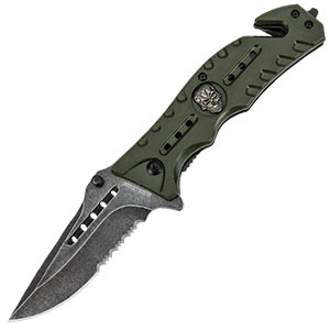Black Legion Skull Rescue Folding Pocket Knife Gre