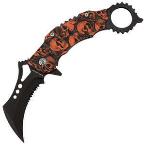 Black Legion Orange Skull Mayhem Folding Karambit