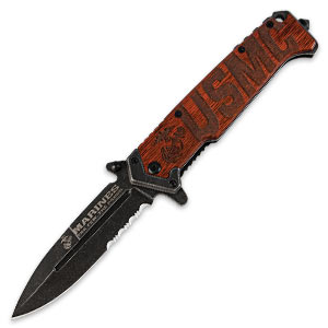 USMC Beachhead Serrated Folding Pocket Knife